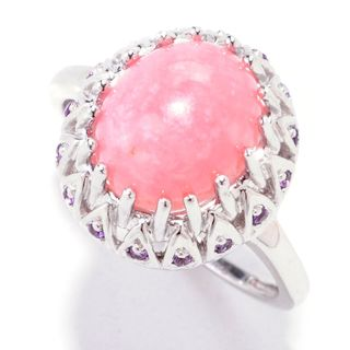Sterling Silver 2.42ct Pink Opal and Amethyst Vintage Ring
