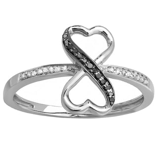 Sterling Silver 1/10ct TDW Round Black & White Diamond Promise Heart Infinity Love Engagement Ring (I-J,Black & I2-I3Opaque)