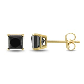 Trillion Designs 10k Yellow Gold 1.70-carat Princess Cubic Zirconia Stud Earrings with Screw Back