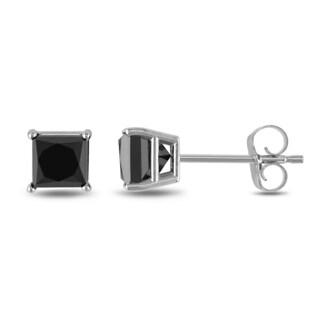 Trillion Designs 10k White Gold Black CZ Stud Earrings
