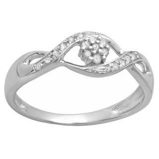 10k White Gold 1/6ct TDW Round Diamond Bridal Bypass Swirl Engagement Promise Ring (I-J & I2-I3)