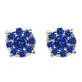 18k White Gold 1/3ct Round Cut Blue Sapphire Round Shape Cluster Earrings Look of 1 CT (Blue & Highly Included)