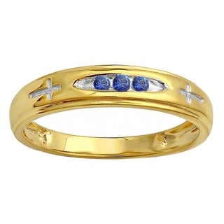 18k Yellow Gold Plated Sterling Silver 1/6ct 3 Stone Round Blue Sapphire Cross Design Men's Band Ring (Blue & Highly Included)