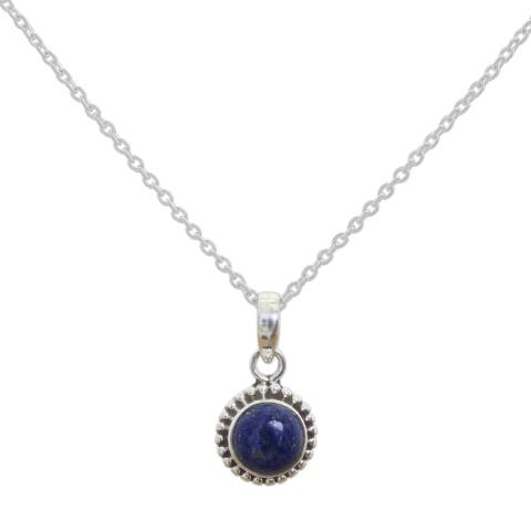 f11bee5bc16ac6 Handmade Sterling Silver 'Blue Globe' Lapis Lazuli Necklace (India) - 7'