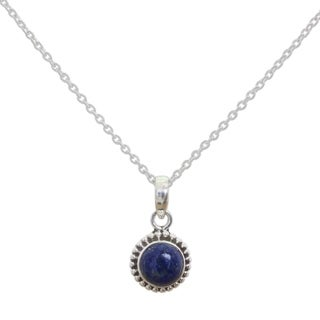 Handmade Sterling Silver Blue Globe Lapis Lazuli Necklace India 7 6 X 9 6