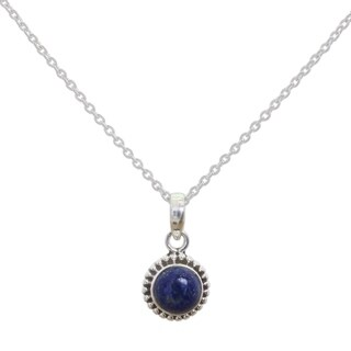 Handmade Sterling Silver 'Blue Globe' Lapis Lazuli Necklace (India)