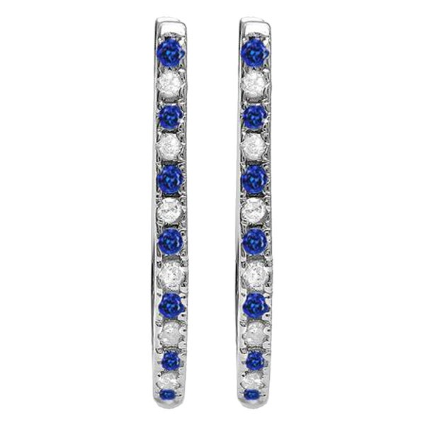 983183c5214 10k White Gold 1 4ct Round Blue Sapphire  amp  White Diamond Hoop Earrings (