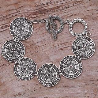 Handcrafted Sterling Silver 'Frangipani Altar' Bracelet (Indonesia)
