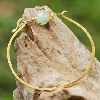 Handmade Gold Overlay 'Always Lucky' Prehnite Bracelet (Thailand)