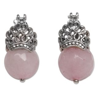 Handcrafted Sterling Silver 'Bali Majesty' Rose Quartz Earrings (Indonesia)