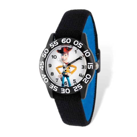 Disney Toy Story Woody Acrylic Black Stretch Band Time Teacher Watch
