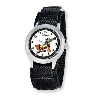 Disney Pooh & Friends Tigger Black Hook and Loop Band Time Teacher Watch