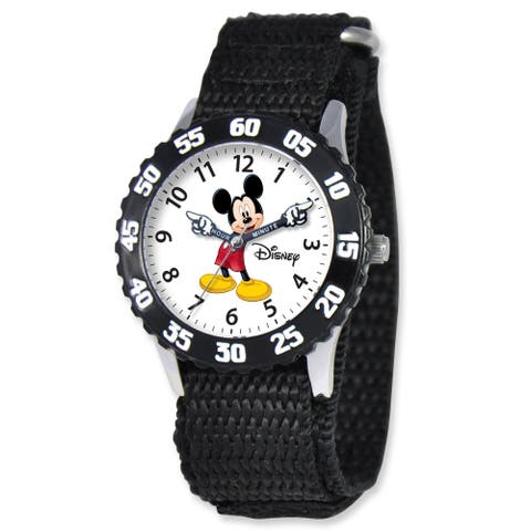 Disney Kids Mickey Mouse Black Hook and Loop Band Time Teacher Watch
