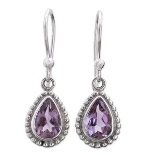 Handmade Sterling Silver 'Radiant Lilac' Amethyst Earrings (India)