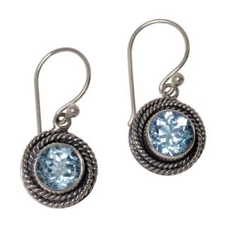 Handmade Sterling Silver 'Nest of Chains in Blue' Blue Topaz Earrings (Indonesia)