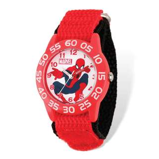Marvel Spiderman Acrylic Red Nylon Time Teacher Watch