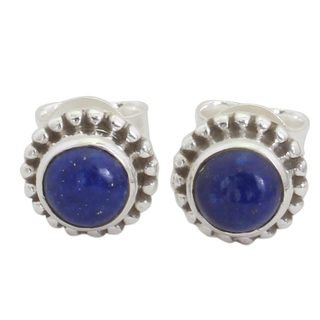 Handcrafted Sterling Silver 'Blue Globe' Lapis Lazuli Earrings (India)