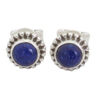Handmade Sterling Silver 'Blue Globe' Lapis Lazuli Earrings (India)