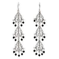 Handmade Sterling Silver 'Serene Dawn' Onyx Earrings (Indonesia)