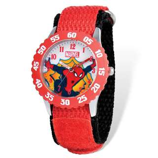 Marvel Spiderman Red Hook and Loop Band Time Teacher Watch