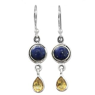 Handcrafted Sterling Silver 'Drops of Sun' Lapis Lazuli Citrine Earrings (India)