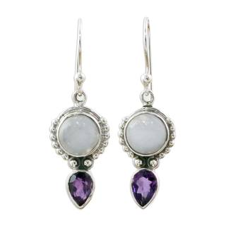Handcrafted Sterling Silver 'Indian Rain' Amethyst Rainbow Moonstone Earrings (India)