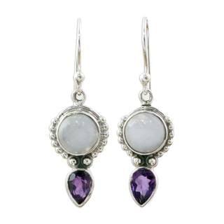 Handmade Sterling Silver 'Indian Rain' Amethyst Rainbow Moonstone Earrings (India)