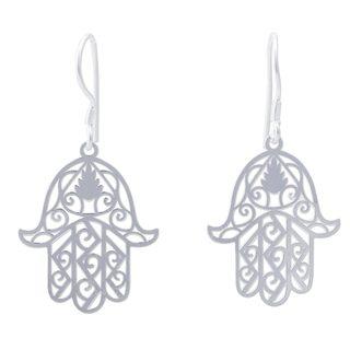 Handcrafted Sterling Silver 'Hamsa Hand of Fatima' Earrings (Peru)