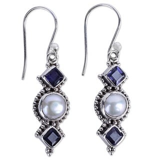 Handcrafted Sterling Silver 'Lunar Allure' Cultured Pearl Iolite Earrings (7 mm) (India)