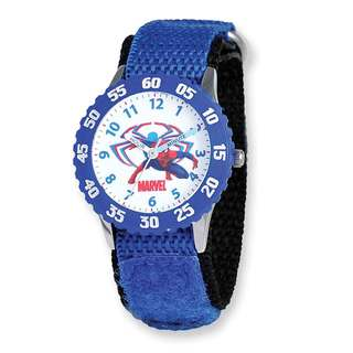Marvel Spiderman Blue Hook and Loop Band Time Teacher Watch