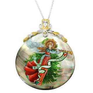 """Michael Valitutti Hark the Herald Angel Painted Mother of Pearl Shell Necklace with 2"""" Ext