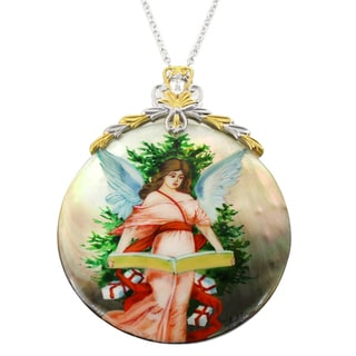 "Michael Valitutti Christmas Story Angel Painted Mother of Pearl Shell Necklace with 2"" Ext"