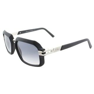 Cazal 6004/3 002SG Matte Black Silver Plastic Rectangle Light Grey Gradient Lens Sunglasses