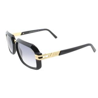 Cazal 6004/3 001SG Shiny Black Gold Plastic Rectangle Light Grey Gradient Lens Sunglasses