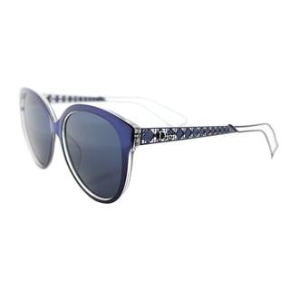 Dior Diorama 2/S TGV KU Blue Crystal Metal Round Blue Avio Mirror Lens Sunglasses