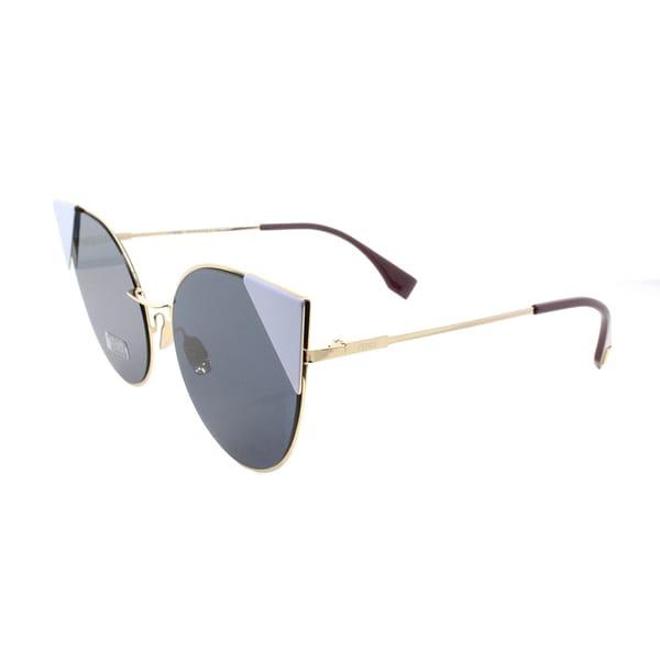 41eb338497c2 Fendi FF 0190 000 A9 Lei Rose Gold Metal Cat-Eye Blue Mirror Lens Sunglasses