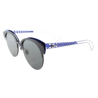 Dior Diorama Club/S G5V Matte Black Blue Metal Cat-Eye Grey Lens Sunglasses