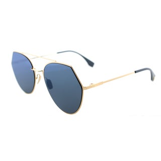 Fendi FF 0194 000_2A Eyeline Rose Gold Metal Aviator Blue Mirror Lens Sunglasses