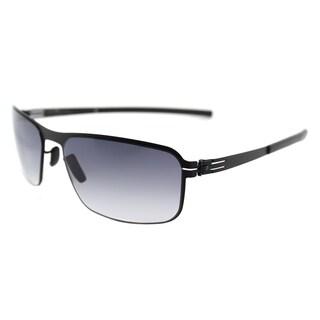 ic! berlin Black Metal Rectangle Sunglasses with Grey Gradient Lens