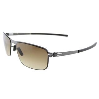 ic. berlin Black Body Gunmetal Metal Rectangle Brown Sand Gradient Lens Sunglasses