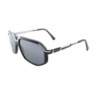 Cazal 8021 002SG Matte Black Silver Plastic Aviator Grey Lens Sunglasses