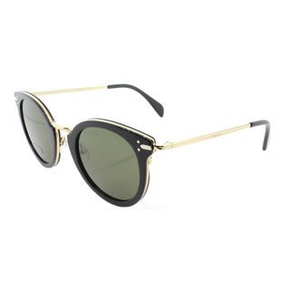 Celine CL 41373 ANW Black And Gold Round Green Lens Sunglasses