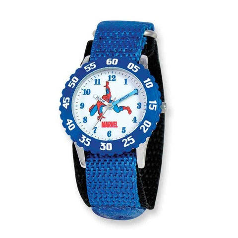 Marvel Spiderman Kids Blue Hook and Loop Band Time Teacher Watch