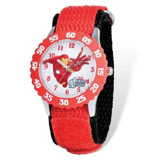 Marvel Avengers Iron Man Red Hook and Loop Band Time Teacher Watch