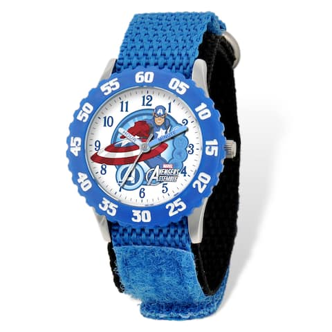 Marvel Avengers Captain America Blue Hook and Loop Time Teacher Watch