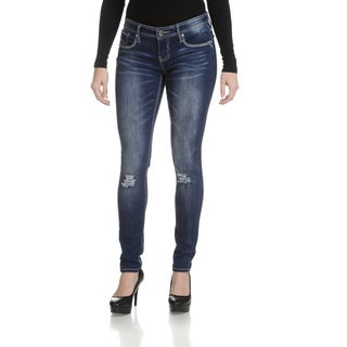 Hydraulic Women's Juniors' Blue Slightly Distressed Skinny Denim Jeans