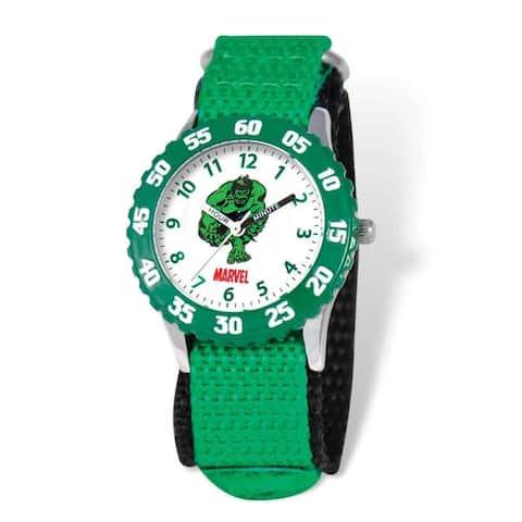 Marvel Hulk Kids Green Hook and Loop Band Time Teacher Watch
