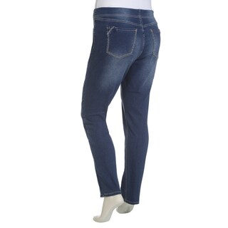 Rampage Women's Juniors' Plus Size Elastic Waist Pull-on Jeans