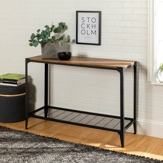 44-inch Rustic Angle Iron Barnwood Entry Table