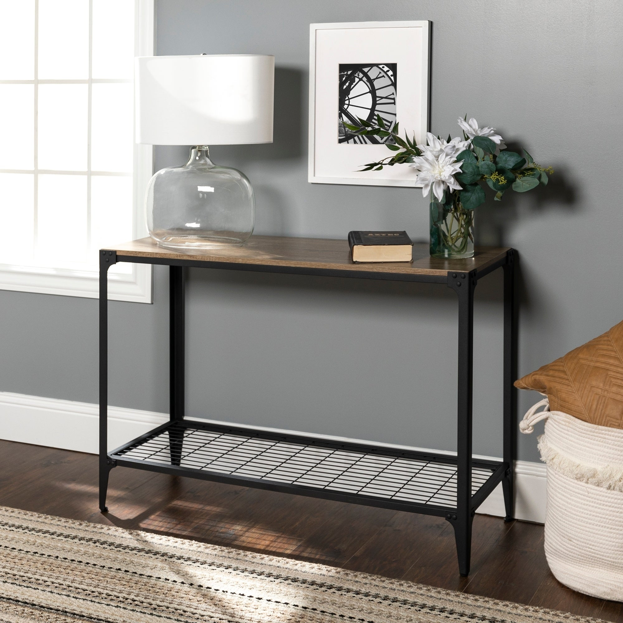 newest 7edfd 163df Carbon Loft Witten Angle Iron and Driftwood Entry Table - 44 x 16 x 30h